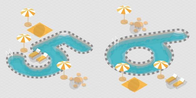 Numeri di piscine 3d isometriche