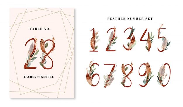 Numeri di piume e foglie ad acquerelli da 0 a 9 set