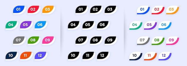 Numeri di punti elenco in stile pulsante moderno da uno a dodici
