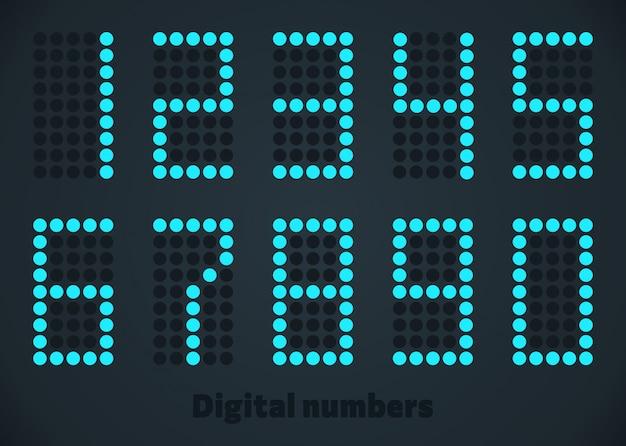 Numeri digitali al neon blu.