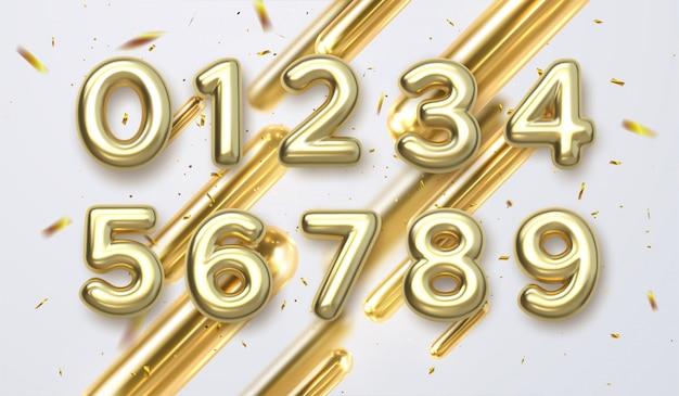 Numeri dorati di compleanno isolati su fondo bianco. elementi di design