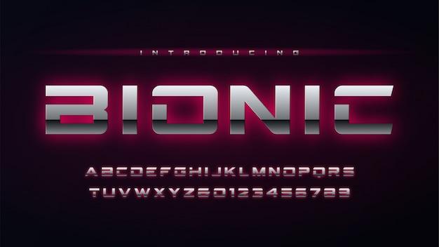 Numeri e alfabeto inglese incandescente metallico di tecnologia