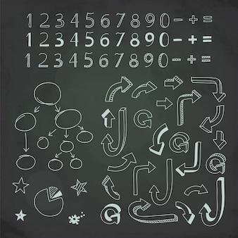Numeri e frecce disegnati a mano in gesso sulla lavagna.