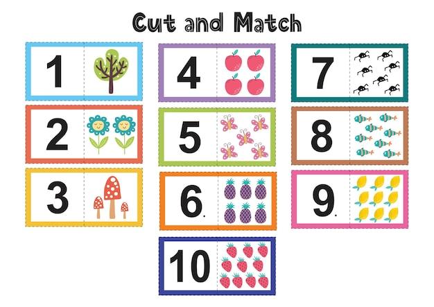Numeri flash card per bambini. taglia e abbina le immagini ai numeri in base ai colori. divertente gioco educativo per i più piccoli. flashcard matematiche.
