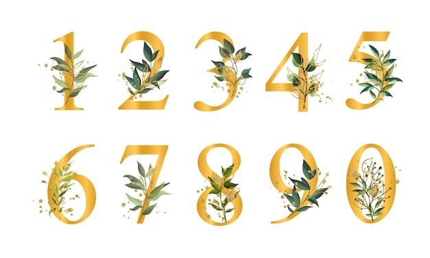 Numeri floreali dorati con foglie verdi e schizzi d'oro isolati