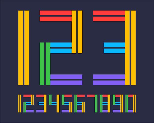 Numeri geometrici di disegno di effetto di stile di linea di carattere