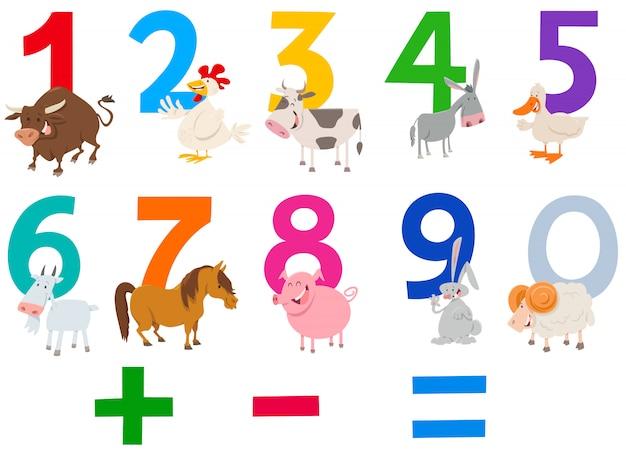 Numeri impostati con animali da fattoria felici