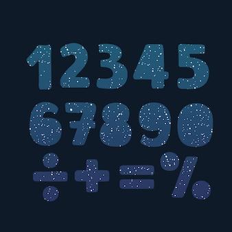 Numeri in un colore geometrico astratto e forma cosmica da triangoli poligonali e logo di poligoni su sfondo nero. illustrazione