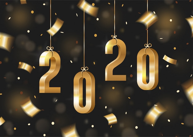 Numeri isometrici 3d di lusso lucidi dorati del nuovo anno 2020 che pendono dalla corda con i coriandoli, la serpentina e il bokeh su fondo nero. concetto moderno e lussuoso felice anno nuovo 2020