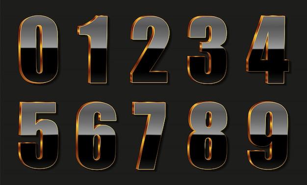Numeri neri d'oro di lusso