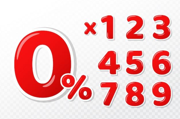 Numeri rossi 3d impostati con segno di 0 per cento e numeri concetti di pagamento rateale