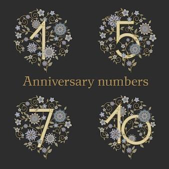 Numeri sofisticati eleganti di lusso su sfondo floreale per anniversario.