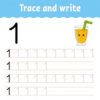 Numero 1. traccia e scrivi. pratica della scrittura a mano. imparare i numeri per i bambini. foglio di lavoro per lo sviluppo dell'istruzione.