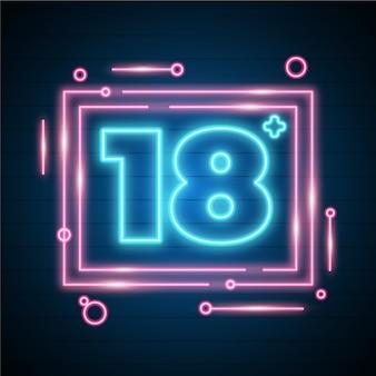 Numero 18+ in stile neon