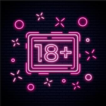 Numero 18+ nel concetto di neon