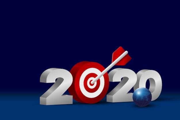 Numero 2020 con obiettivo e sfera
