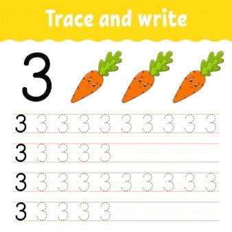 Numero 3. traccia e scrivi. pratica della scrittura a mano. imparare i numeri per i bambini. foglio di lavoro per lo sviluppo dell'istruzione.