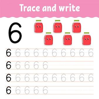 Numero 6. traccia e scrivi. pratica della scrittura a mano. imparare i numeri per i bambini. foglio di lavoro per lo sviluppo dell'istruzione.