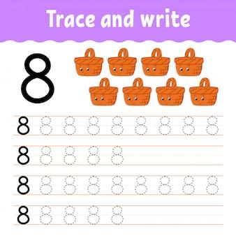 Numero 8. traccia e scrivi. pratica della scrittura a mano. imparare i numeri per i bambini. foglio di lavoro per lo sviluppo dell'istruzione.