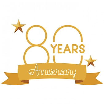Numero 80 per l'emblema o le insegne della celebrazione dell'anniversario