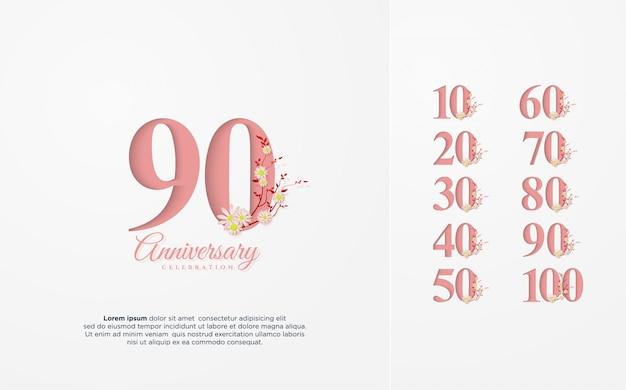 Numero anniversario 10 100 con un'illustrazione di un numero rosa