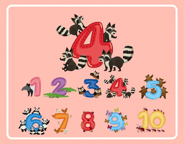 Numero da 1 a 10 con animali