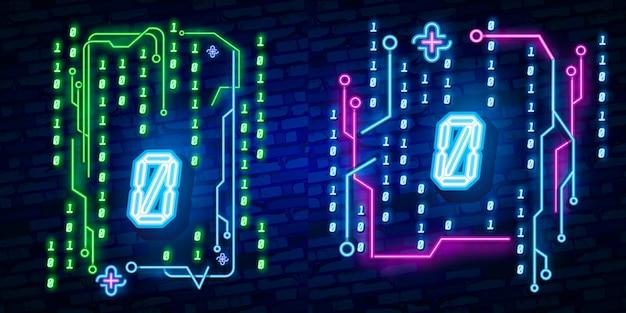 Numero del segno della fonte al neon della città 0, insegna zero.