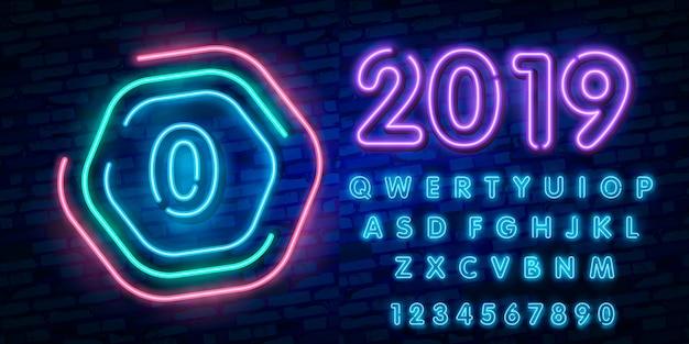 Numero del segno della fonte al neon della città, alfabeto di tipografia della fonte zero e del neon dell'insegna