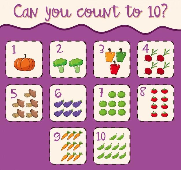 Numero di carte matematiche da 1 a 10