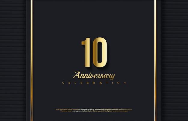 Numero di celebrazione dell'anniversario con il numero 10 in oro su uno sfondo lussuoso.