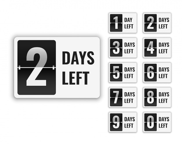 Numero di giorni a sinistra segno per la vendita e la promozione