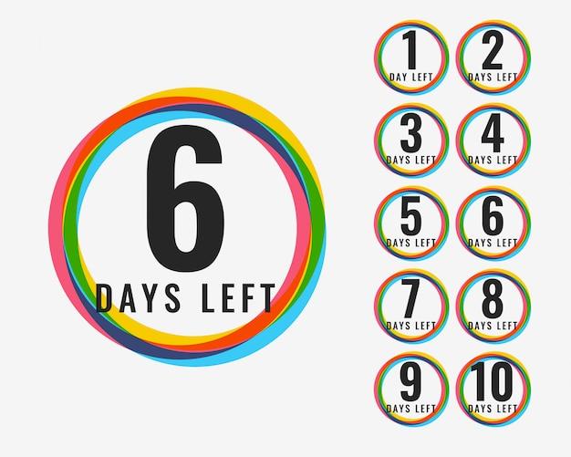 Numero di giorni lasciati design di simboli colorati
