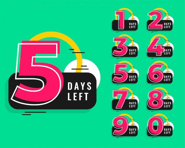 Numero di giorni lasciati design in stile memphis