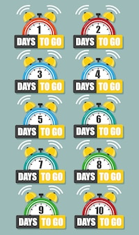 Numero di giorni per andare piatto. illustrazione piatta stock vettoriale.