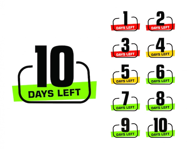 Numero di giorni rimanenti logo banner promozionale