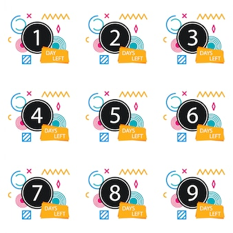 Numero di giorni rimasti badge, per promozione, vendita, modello, flyer, banner, poster e altro