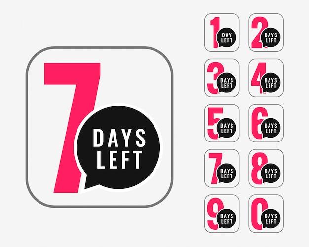 Numero di giorni rimasti design di banner promozionali