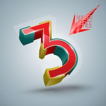 Numero di vettore tre stile 3d