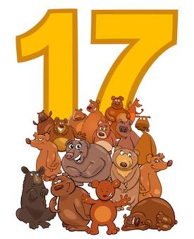 Numero diciassette e gruppo di orsi dei cartoni animati