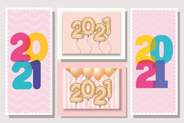 Numero multicolore e palloncini d'oro in cornici di felice anno nuovo