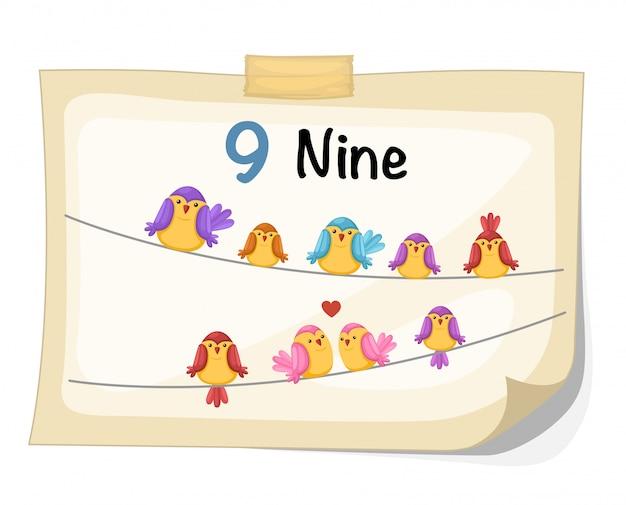 Numero nove uccello vettoriale