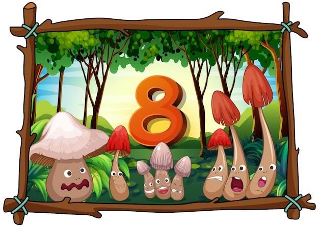 Numero otto con funghi nella foresta