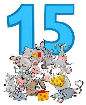 Numero quindici e gruppo di topi cartoon