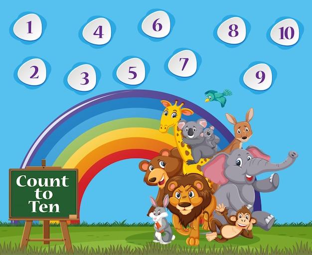 Numero uno a dieci con cielo blu e arcobaleno colorato