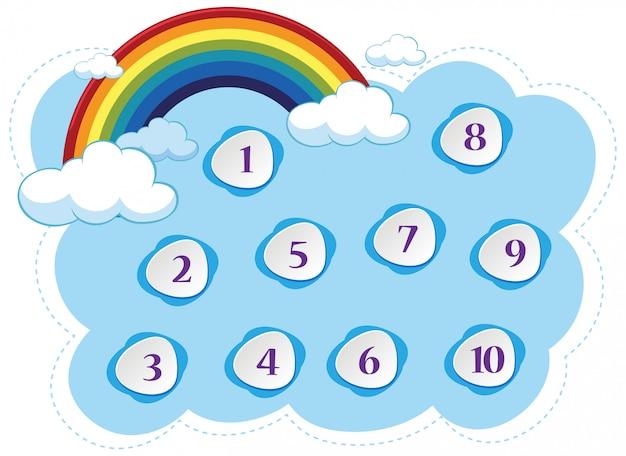 Numero uno a dieci con cielo blu e sfondo colorato arcobaleno