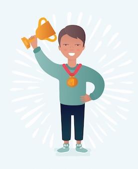 Numero uno. podio vincitore giovane bambino. metta in mostra il bambino atletico sul piedistallo con la tazza del trofeo, su bianco. illustrazione.