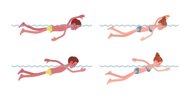 Nuotatore maschio e femmina nel set di stile di nuoto libero