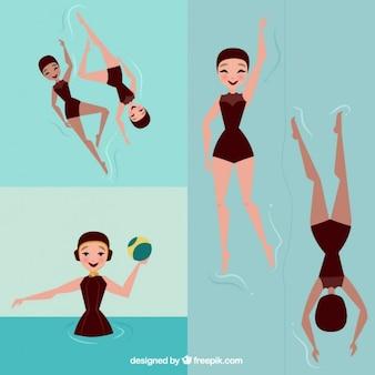 Nuotatore ragazza bella