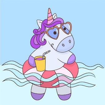 Nuoto all'unicorno in anello gonfiabile