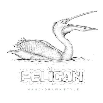 Nuoto del pellicano sull'acqua, illustrazione di un animale disegnato a mano